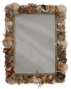Mirror with shells, handmade by Mishmash. www.mishmash.nl