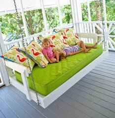 Twin bed turned into a porch swing. Not crazy about the twin bed but now I have a good idea for Brayden's crib mattress :)! My Dream Home, Dream Homes, Diy Home, Home Decor, Sweet Home, Diy Casa, Crib Mattress, Home And Deco, Home Design