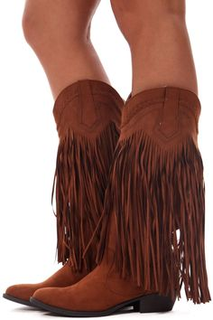 Lime Lush Boutique - Dark Rust Fringe Cowgirl Boots, $48.99 (http://www.limelush.com/dark-rust-fringe-cowgirl-boots/)