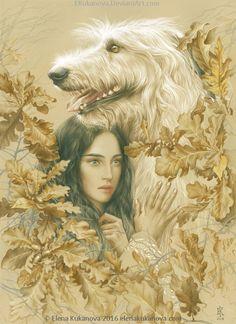 Luthien and Huan by Elena Kukanova Illustration for Silmarillion by JRR Tolkien colored pensils on pastel paper. Ekukanova.deviantart.com
