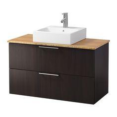 GODMORGON/ALDERN / TÖRNVIKEN Meuble lavabo av lav à poser 45x45 - bambou, brun noir - IKEA