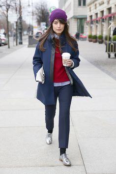 Alessandra Mastronardi wearing Fay blue overcoat.