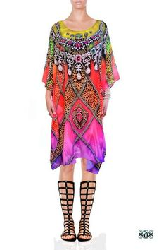 Devarshy Designer Caftan Digital Print Short Dress