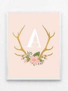 Monogram Blush Pink and Gold Baby Nursery Print Pink