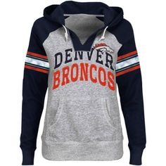 Denver Broncos Ladies Huddle V-Neck Hoodie - Ash/Navy Blue $54.95. 80% Cotton/20% Polyester Screen print graphics Raglan sleeves Sequin accents Hood with drawstring Front pouch pocket Imported Officially licensed NFL product