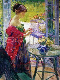 """The Bird Cage"" → Richard Miller - 1875/1943 - American painter. Impressionismo"