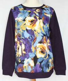 Get it at Bad Reputation! Coldwater Creek #Purple #LongSleeve Top w/ Multi #Floral #Rose Print - Medium Large #ColdwaterCreek #KnitTop #Casual #Roses #Flowers #Fashion #Fall