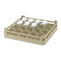 """Full Size Medium 20-Compartment Cup Rack, Cocoa, 19-3/4x19-3/4x5-1/2 by Vollrath. $25.70. Vollrath Full Size Medium 20-Compartment Cup Rack, Cocoa, 19-3/4"""" x 19-3/4"""" x 5-1/2""""Keep your glasses clean and organized and prevent chipping or breaking with this dishwashing rack for medium sized cups.Capacity: 20 cups Inside dimensions: 3-7/16"""" x 4-5/16"""" Holds most standard-sized cups Molded tilting device prevents water from pooling in bottom of cup Dishwasher safe USA made, NSF Certi..."""
