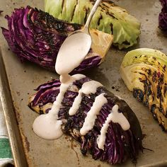 Seasoned, crispy cabbage drizzled with a creamy, tangy sauce makes an elegant starter or side.