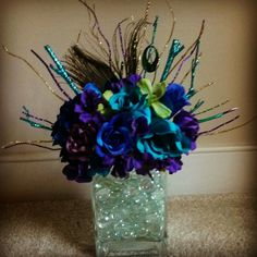 Peacock centerpiece by KreativeCreations11 on Etsy, $19.99
