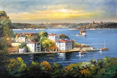 İstanbul Tabloları İST 010 Oil Painting Pictures, Pictures To Paint, Italian Lakes, Z Arts, Vintage Cards, Amazing Art, Cool Art, Watercolor, Landscape