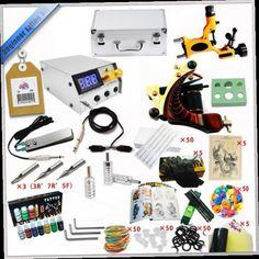 52.24$  Watch now - http://alidpp.worldwells.pw/go.php?t=32391096366 - Factory Complete Tattoo Kit 1 Pro Rotary Machine1 cast tattoo Guns7 Inks Power Supply Needle Grips TTKS-032