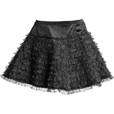 Visit our gothic shop for this short black ruffle skirt by Sinister clothing, detailed with ten rows of lace frills.