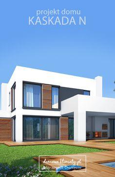 """Projekt nowoczesnego domu piętrowego """"Kaskada N"""". Sylwetka budynku skomponowana jest z trzech przenikających się brył. Główna, piętrowa część zawiera podstawowe pomieszczenia mieszkalne. Otaczające ją parterowe skrzydła mieszczą dodatkowe pokoje z jednej strony, a z drugiej pomieszczenia gospodarcze. Całość uzupełniają praktyczne podcienia i zadaszenia tarasów. Wnętrze domu zwraca uwagę naprawdę dużym salonem połączonym z jadalnią usytuowanymi wzdłuż przeszklonej witryny z widokiem na ogród."""