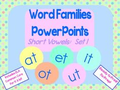 Perfect for word work mini-lessons! Bundle of 5 PowerPoints (one for each short vowel) with animated letters to support beginning readers in using onset and rime to sound out words. $