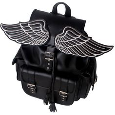 LUCID MOXIE Sid black winged backpack ($117) ❤ liked on Polyvore featuring bags, backpacks, black knapsack, black bag, knapsack bags, rucksack bag and wing bags