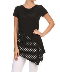 Look at this #zulilyfind! Black & White Polka Bottom Dot Tunic by One Fashion #zulilyfinds