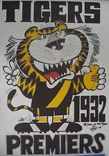 RICHMOND TIGERS AFL - WEG 1932 PREMIERS POSTER