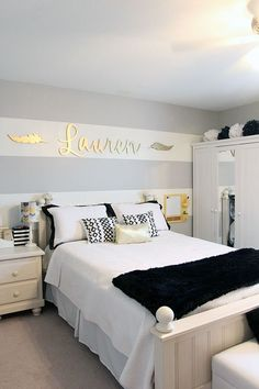 Teen Girl Bedrooms dazzling examples, decorating suggestion ref 5085061825 - Georgeous decor tricks to produce a spectacular and really creative teen girl room. The sensational diy teen girl bedrooms ideas imagined on this creative day 20181220 Girl Bedroom Designs, Girls Bedroom, Teen Bedroom Colors, Teal Teen Bedrooms, Gold Teen Bedroom, Vintage Teen Bedrooms, White Bedrooms, Dream Rooms, Dream Bedroom