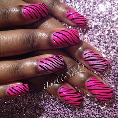 Pink with black and glitter zebra stripes