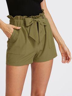 Shop Self Tie Ruffle Waist Shorts online. SheIn offers Self Tie Ruffle Waist Shorts & more to fit your fashionable needs.