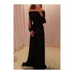 Rotita Chiffon Black Boat Neck Slit Sleeve Maxi Dress (26 AUD) ❤ liked on Polyvore featuring dresses, gowns, other, vestidos, black, chiffon dress, print maxi dress, off shoulder dress, black maxi dress and maxi dress