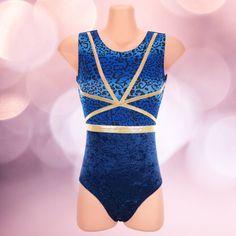 Turnpakje in mooie combinatie van blauw en goud glitter. Gymnastics Leotards