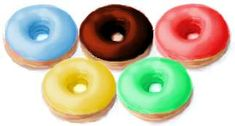 Cute Olympic party idea for kids: Frosted donuts in the official colors.