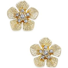 Erwin Pearl Atelier for Charter Club Gold-Tone Crystal Flower Stud... ($35) ❤ liked on Polyvore featuring jewelry, earrings, gold, floral jewelry, sparkle jewelry, pearl earrings, crystal earrings and earring jewelry