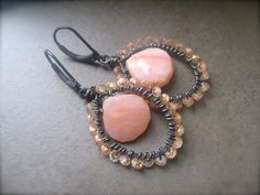 Pink Opal Earrings, Wire wrapped oxidized earrings, champagne cubic zirconia, Hoop earrings, Gemstone hoops