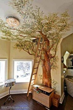 Indoor tree house tree mural, probably the greatest kids room decor ever. Interior Exterior, Interior Design, Interior Ideas, Attic Design, Tree Interior, Bohemian Interior, Modern Bohemian, Contemporary Interior, Kitchen Interior