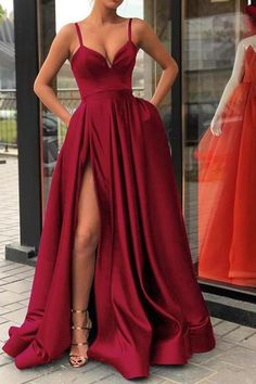 long prom dresses - Spaghetti Straps Black Prom Gown Long Evening Party Gown with Slit Robe De Soiree Split Prom Dresses, Prom Dresses With Pockets, Cute Prom Dresses, Prom Dresses Online, Long Bridesmaid Dresses, Women's Dresses, Elegant Dresses, Homecoming Dresses, Pretty Dresses