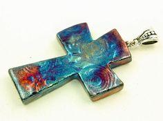 Raku Cross Pendant by elementspottery on Etsy, $14.00