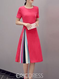 Color Block Patchwork Short Sleeve Round Neck Casual Dress