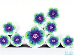 Lila Türkis & Apple Green fimo Blume cane Roh und von RonitGolan
