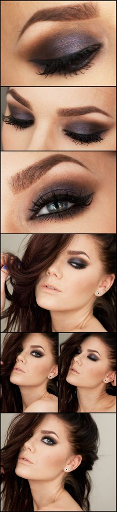 Purple Toned brown smokey eye makeup look and natural nude lip by makeup artist Linda Hallberg. Great for spring summer fall or winter