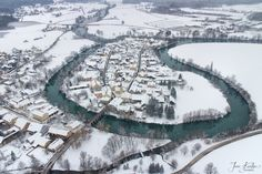 Aerial view of the town of Kostanjevica na Krki in the Lower Carniola region of Slovenia