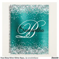 Faux Shiny Silver Glitter Aqua Teal Foil Monogram Planner