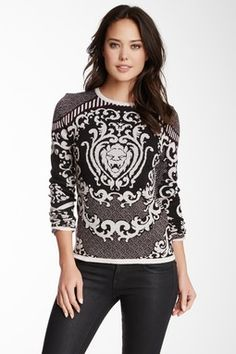 Rachel Roy Baroque Lion Merino Wool Sweater