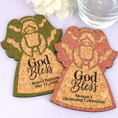 Personalized Angel Cork Coaster-Celebrate your sweet little angel with our Personalized Angel Cork Coasters. Choose from a selection of color options to perfectly coordinate with your special day! Each beautiful coaster (Approx. Wedding Favors, Party Favors, First Communion Favors, Christening Favors, Personalized Coasters, Cork Coasters, Some Ideas, Baby Shower Favors, Gingerbread Cookies