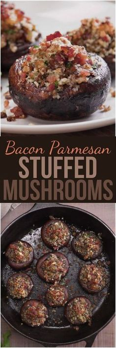 Bacon Parmesan Stuffed Mushrooms We stuffed gorgeous sautéed cremini mushroom caps with a mouthwatering mixture of bacon, Parmesan cheese, and herbs, and then we baked them to crispy, caramelized perfection. These quick and easy party bites will disappear Finger Food Appetizers, Appetizers For Party, Appetizer Recipes, Burger Recipes, Bacon Appetizers, Bacon Recipes, Party Snacks, Recipes Dinner, Healthy Recipes