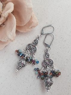Antique Pewter and Swarovski Crystal Beaded Dangle Earrings