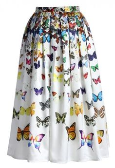Dreamy Butterfly Pleated Midi Skirt in White