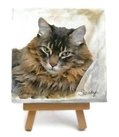 "Cat Lovers  Mini Portrait - Collage- - Custom Pet Portrait - 4""x4"" Canvas with Easel"