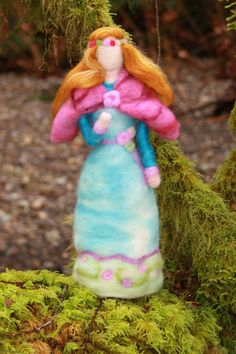 Lady Spring Wool  Needle Felted Waldorf Figure.