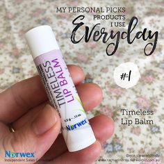 Here are some of my most favourite #norwex products that I use literally EVERYDAY. In no particular order, first up is the Timeless #lipbalm By far 'the' best lip balm you'll ever use. I won't use anything else! This rich, emollient lip balm quickly penetrates to moisturise, condition and protect dry, chapped lips. Contains organic aloe Vera, coconut oil and tea tree oil; is vegan; and is gluten and paraben free.