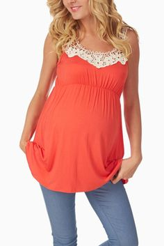 Coral-Crochet-Neckline-Maternity-Tank-Top #maternity #fashion