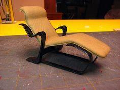 Dollhouse Miniature Furniture - Tutorials | 1 inch minis: MARCEL BREUER LONG CHAIR TUTORIAL - How to make a Marcel Breuer Long Chair from card stock.