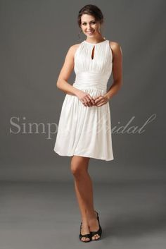 Wedding Dress by SimplyBridal. The Vera gown is the definition of chic. With it's high neck and pleated bodice, this dress radiates class, but the key hole cut out adds just a tad of sexyness. This knee-length gown is incredibly versatile. The gorgeous charmeuse makes it appropriate in. USD $109.99