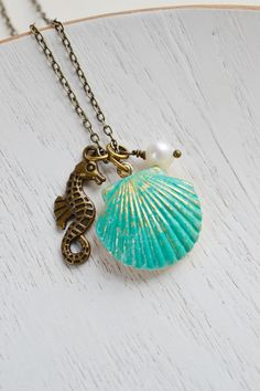 SeaShell Locket Pendant,Patina Jewelry,Patina Mermaids SeaShell Locket,Sea Horse Necklace,Locket Necklace,Ocean Inspired,Nautical,Pearl Clam on Etsy, $22.00